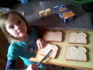 Buttering the bread