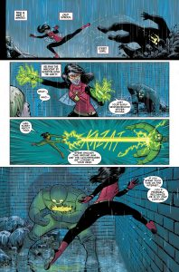 Spider-Woman kicking bad-guy butt as she starts a new life in Spider-Woman #5