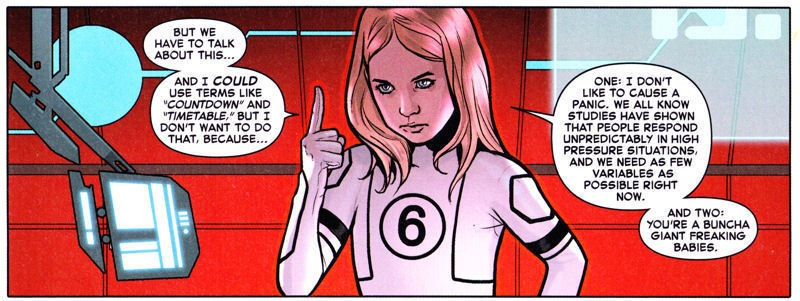 Scientific genius, Valeria Richards, explaining to the grown ups that the world is coming to an end.