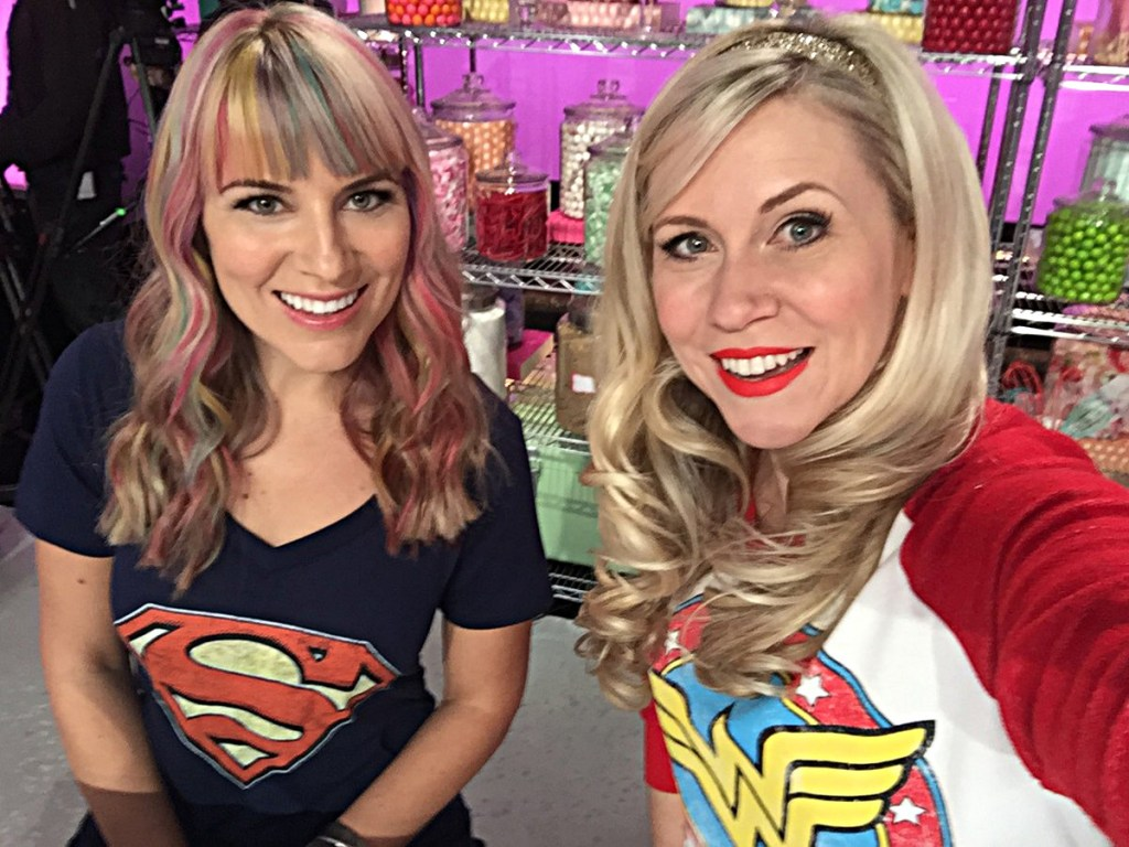 "Shea Fontana and Ashley Eckstein on the set of ""Cupcake Wars"""