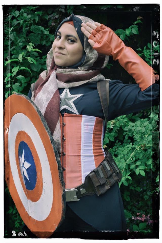 Hijab Hooligan as Captain America