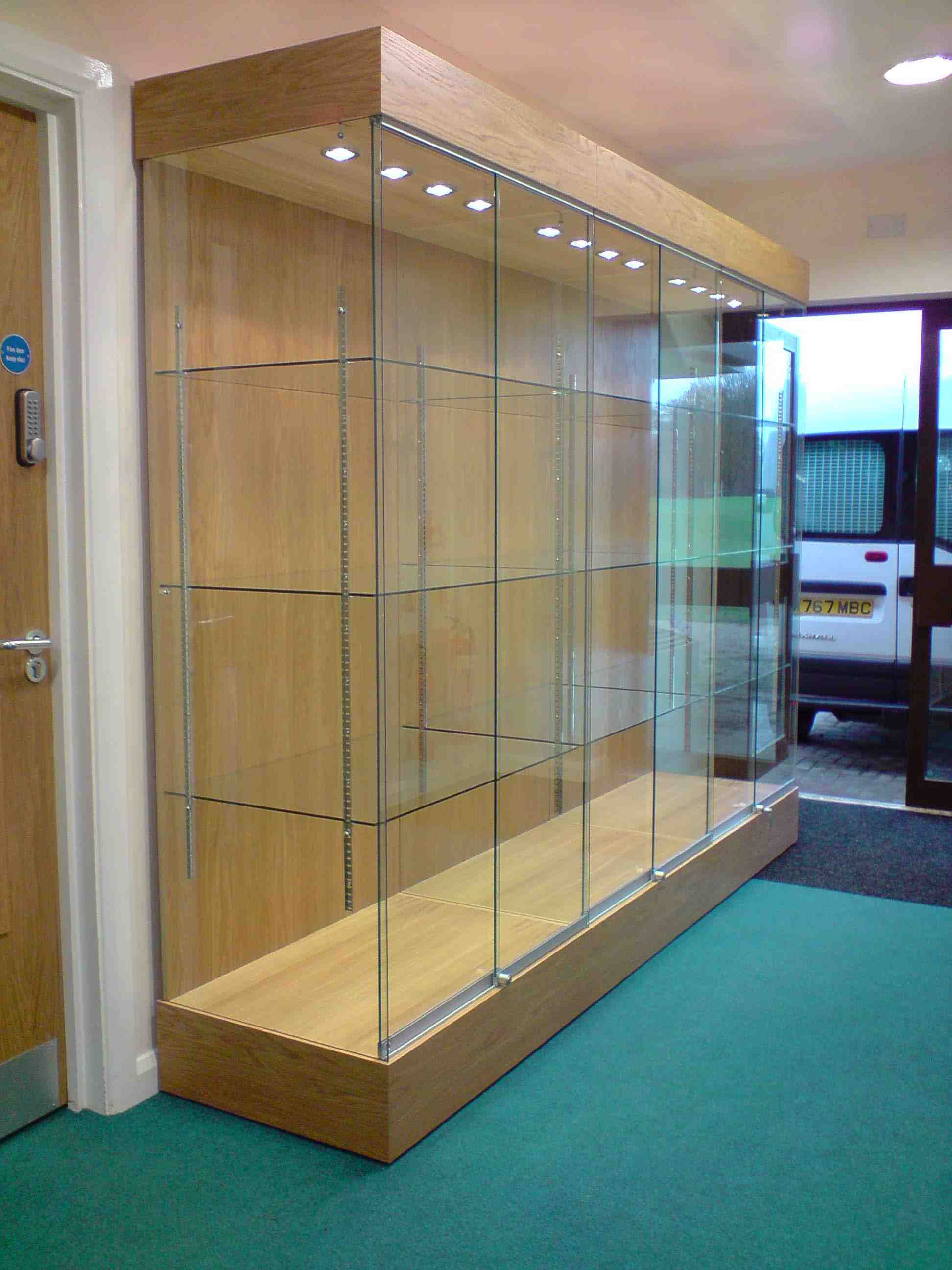 Oak glass display cabinet with LED lighting