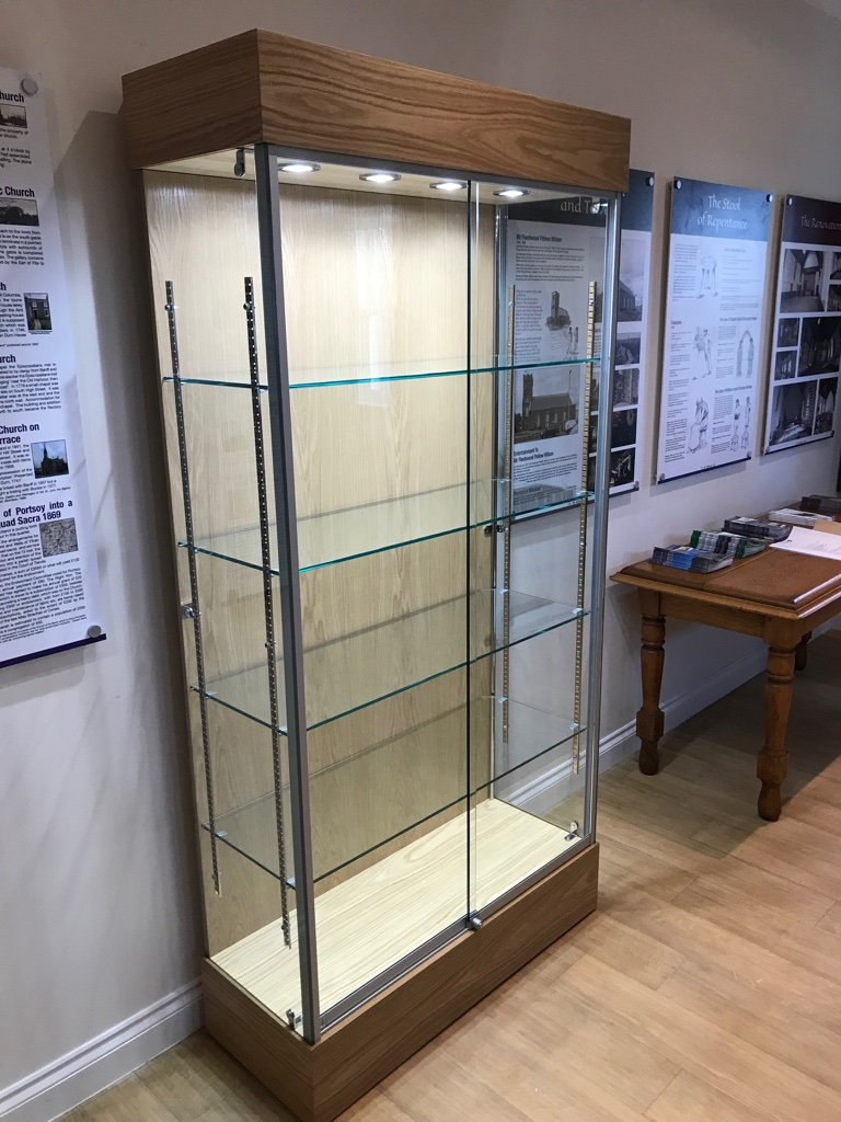 Glass exhibition display cabinet in Oak for silverware and historic items