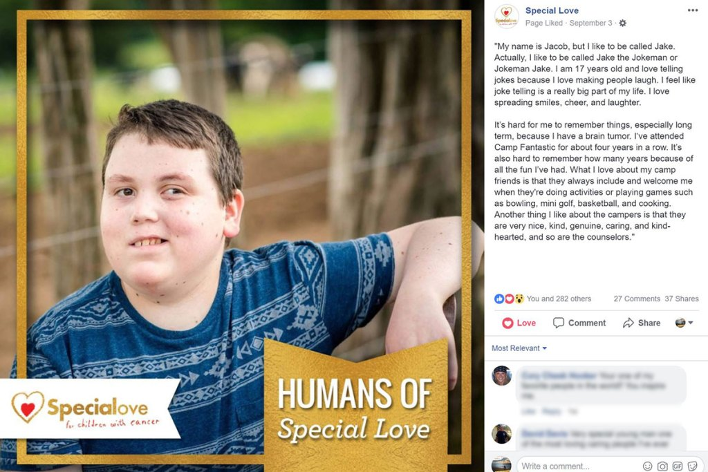 Jake's story on Humans of Special Love.