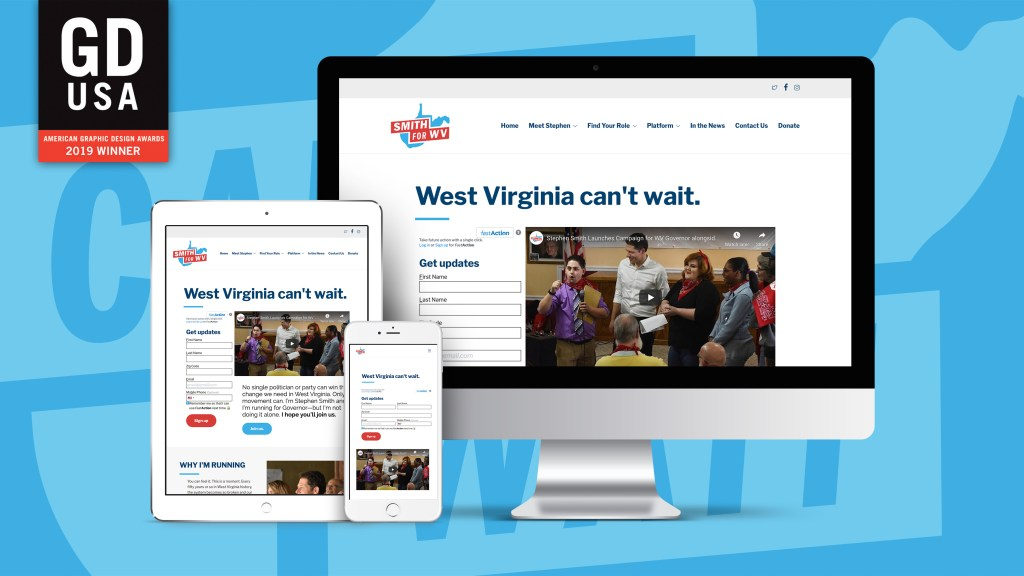 Smith for WV, WV Can't Wait Campaign website mockup