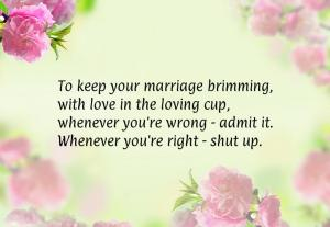 To keep your marriage brimming