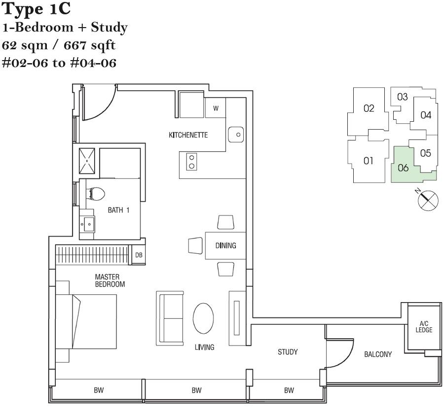 Hertford Collection 1 Bedroom + Study Type 1C Floor Plans