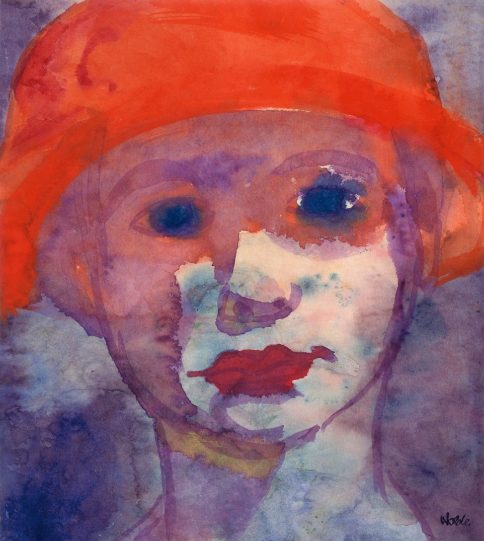 Blue portrait of a woman with red mouth and hat