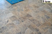 Silver Travertine Tile Herringbone Floor Tutorial - Her ...