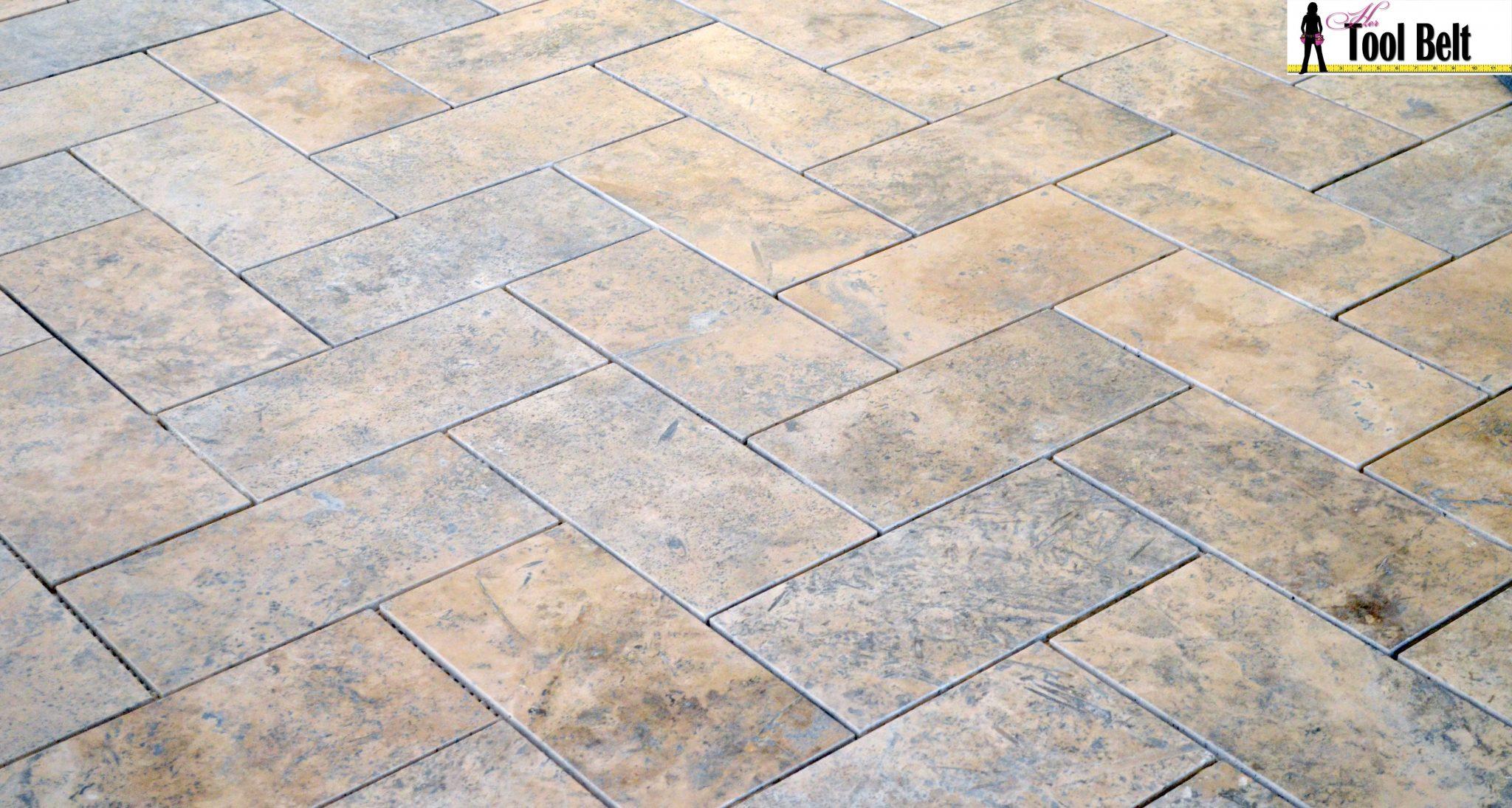 Silver Travertine Tile Herringbone Floor Tutorial