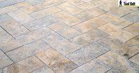 Silver Travertine Tile Herringbone Floor Tutorial - Her ...