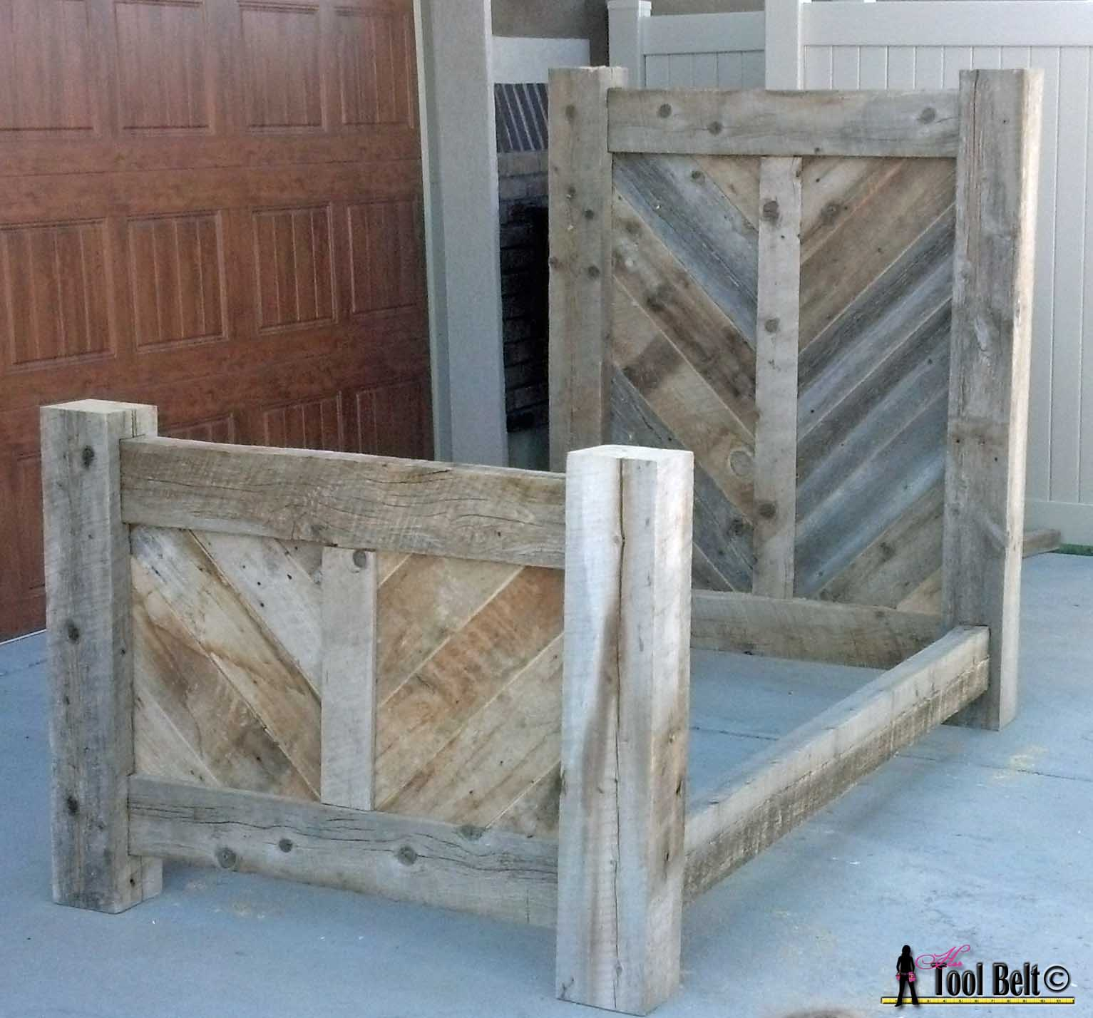 pallet wood chair rail game with speakers at walmart rustic barnwood twin bed plan her tool belt