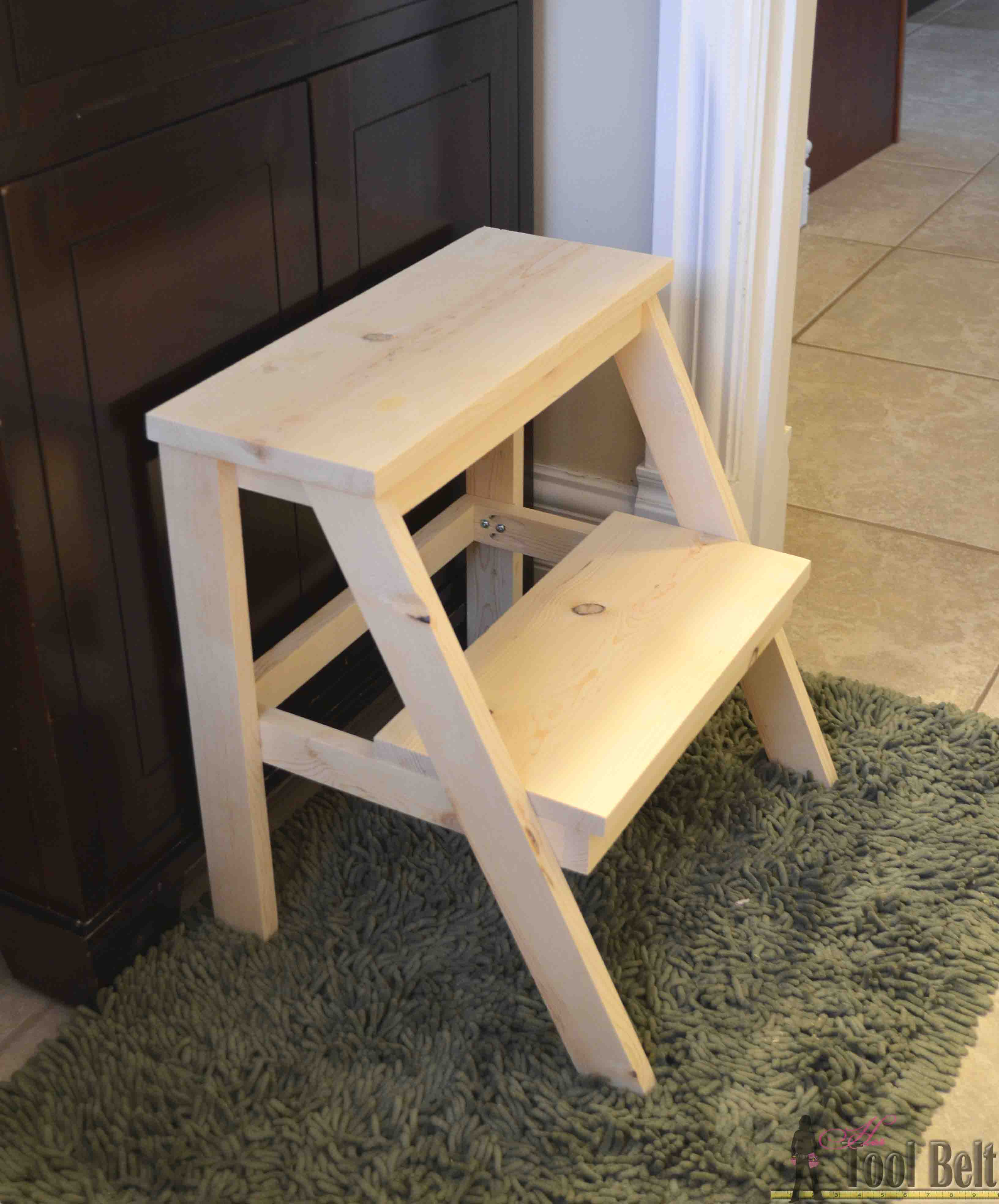 wooden step stool chair dining room table and chairs set kid s her tool belt build this simple diy for those hard to reach