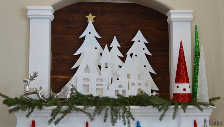 DIY Christmas Village Silhouette Mantel Decor  Her Tool Belt