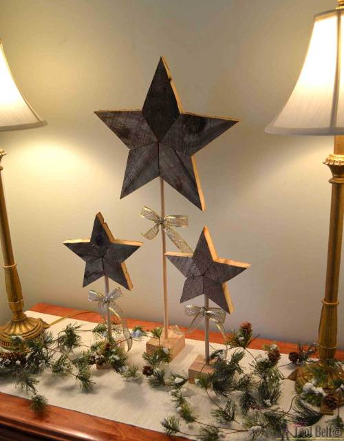small resolution of easily add natural elements into your christmas decor with these simple rustic patchwork wooden stars