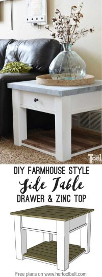 Zinc Top Farmhouse Side Table - Her Tool Belt