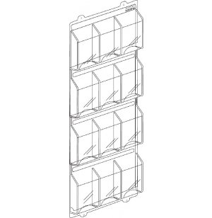 12 Magazine Display Rack 4 Rows of 3 MGD-111, Literature