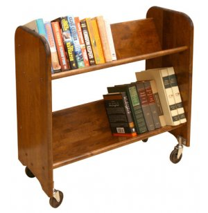 Wood Book Cart  2 Tilted Shelves in Walnut WBC334 Book Carts