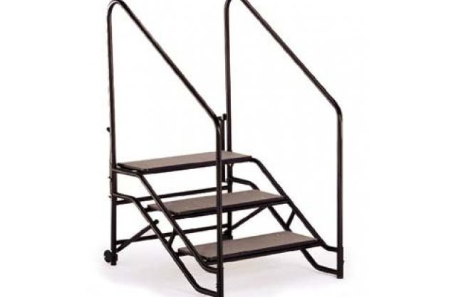 Portable Steps With Handrails For 24H Or 32H Mobile Stage Fst 324A   Portable Steps With Handrail   3 Step   Free Standing   Camper   Stair   Safety Step Ladder 4 Step