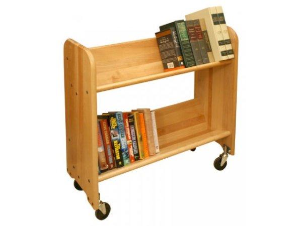 Wood Book Cart 2 Tilted Shelves in Birch WBC331 Book Carts