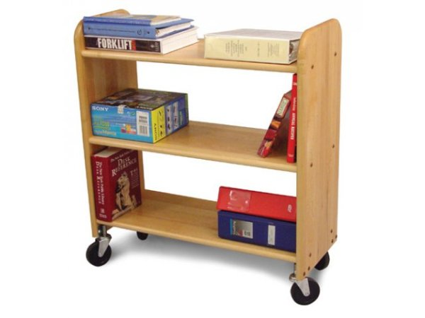 Wood Book Cart 3 Level Shelves in Birch WBC333 Book Carts