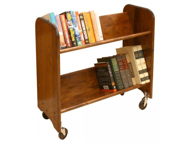 Wood Book Cart 2 Tilted Shelves In Walnut WBC 334 Book