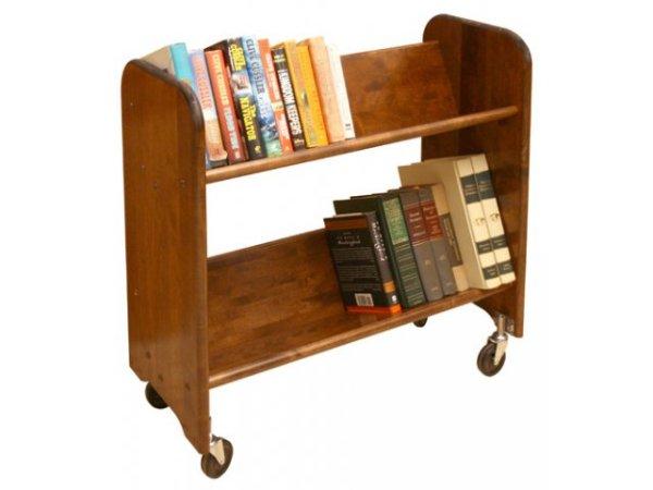 Wood Book Cart 2 Tilted Shelves in Walnut WBC334 Book
