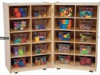 Folding Mobile Cubby Storage w/ 20 Clear Cubby Bins WDE ...