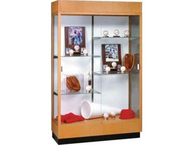 Heritage Trophy Cabinet in Oak with Mirror 48Wx70H