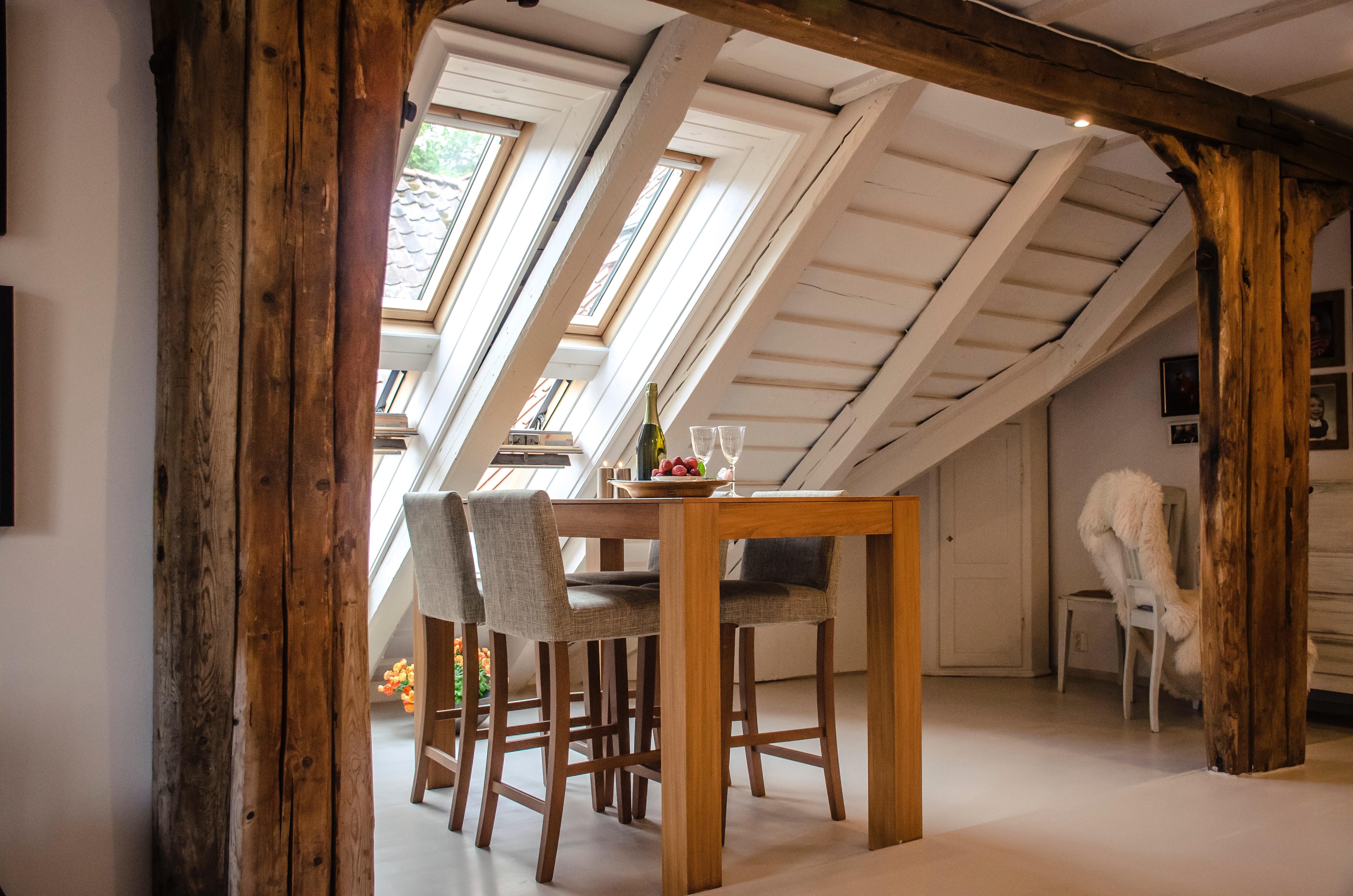 Wooden furniture in a rustic loft