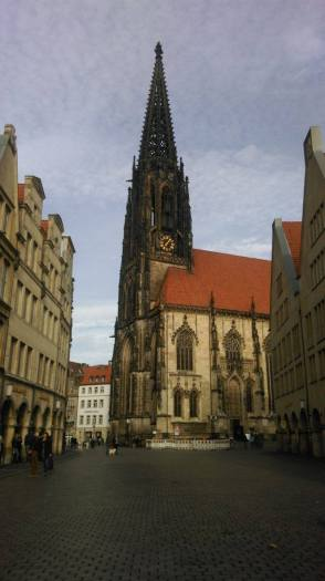 Church and market place in Münster Germany