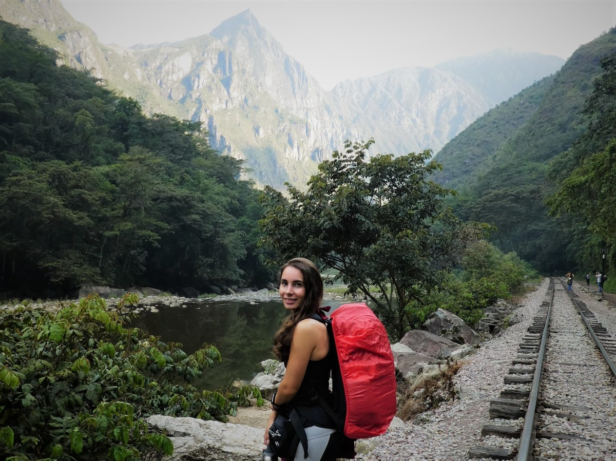 hiking with full travel gear near machu picchu