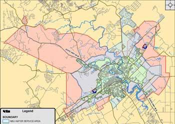 map of NBU service area