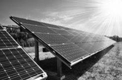 tilted ground mount solar array