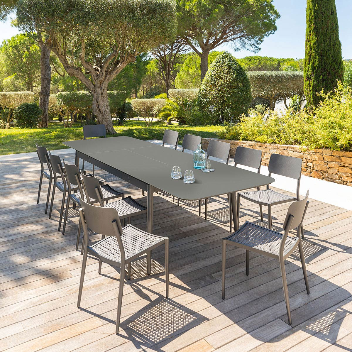 Table de jardin extensible Iceland Graphite Hespride 12 places