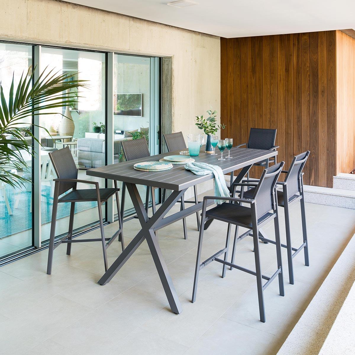 Table haute de jardin Axiome Hespride 6 places