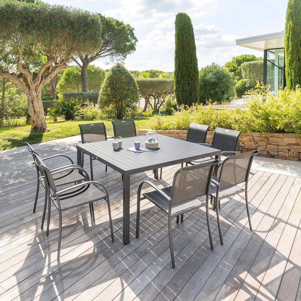 table de jardin carree piazza graphite hesperide com