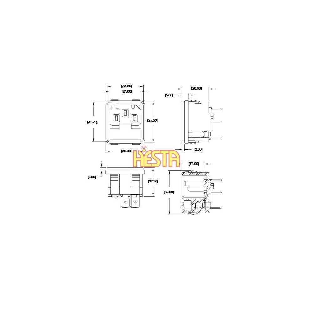 AC 230V inlet socket for Waeco CF, CR, CFX portable fridge
