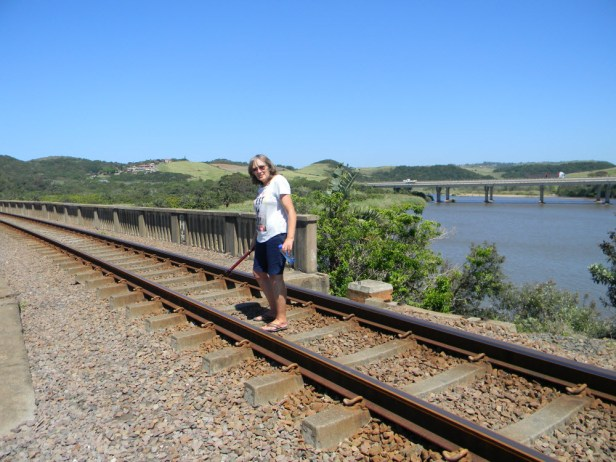 Train bridge over the Mtwalume river with the freeway bridge in the background