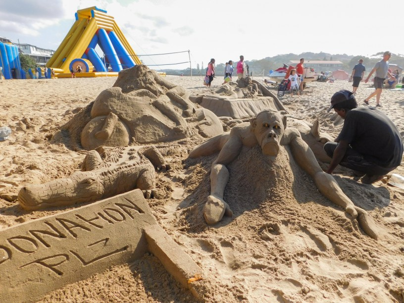 Sand art on St Michaels on Sea Beach in KwaZulu-Natal