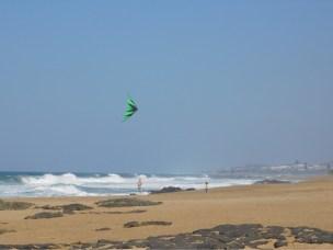 Flying kites on the beach