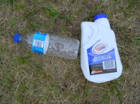 Empty water- and anti freeze bottles