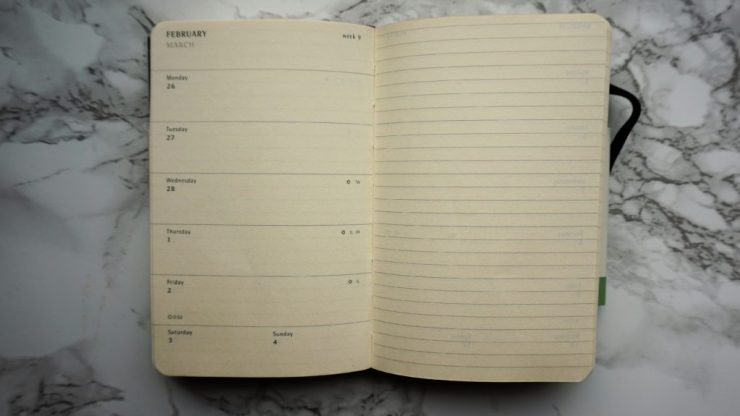 Moleskine weekly notebook blog