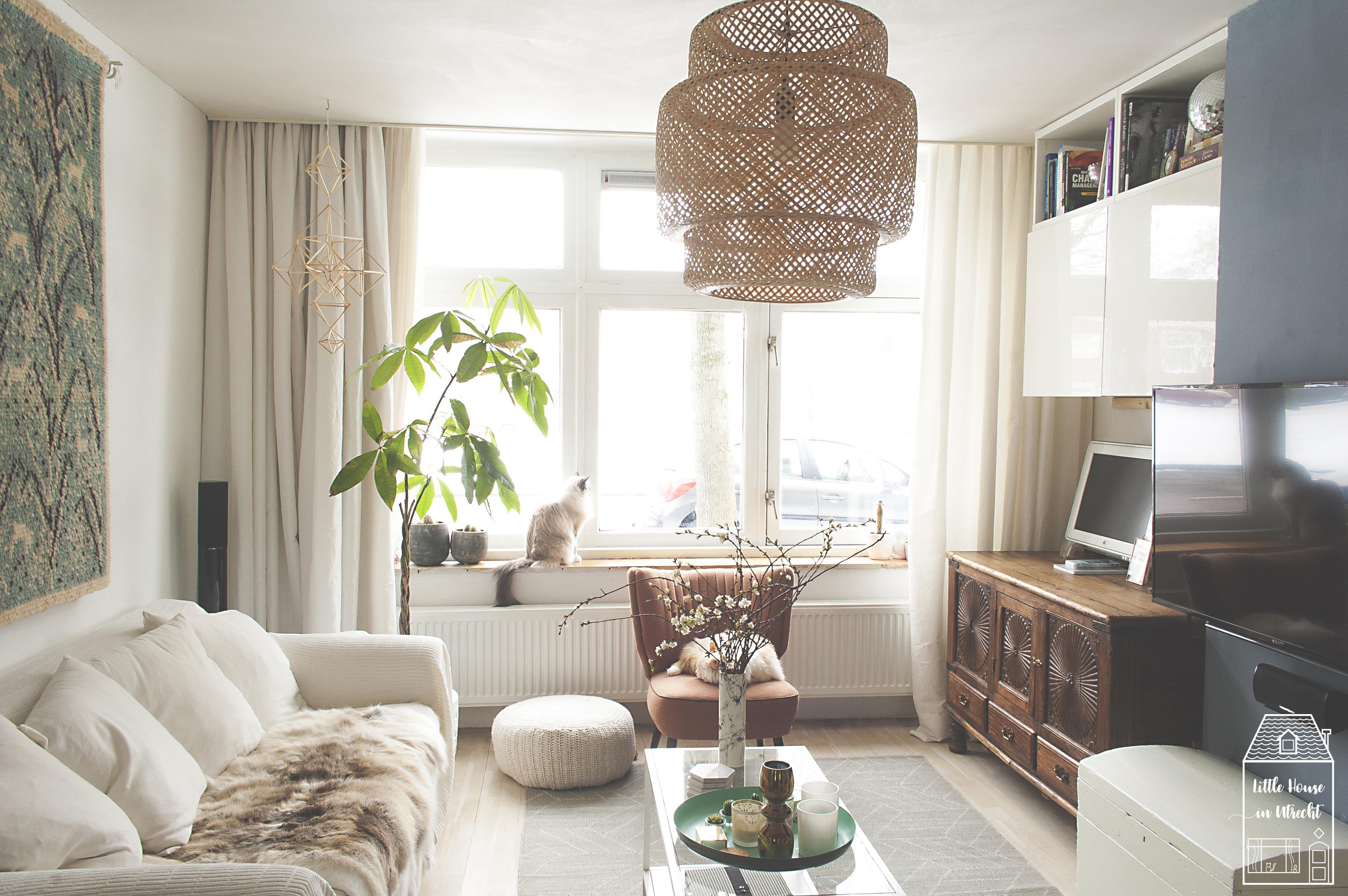 scandinavian bohemian, living room, home decor, ikea sinnerlig, finarte kievari rug, saana ja olli rug