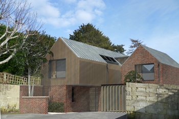 3-D scheme for a 2 storey 2-3 bedroomed house, with parking and a small private courtyard on this tricky site in a Conservation Area with overlooking problems. Image shows the use of contemporary forms and materials such as brick and zinc cladding.