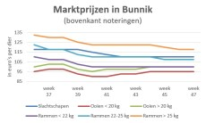 grafiek marktprijzen op veemarkt Bunnik