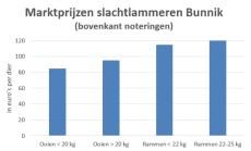 Grafiek met noteringen van slachtlammeren op veemarkt in Bunnik in week 33 2019
