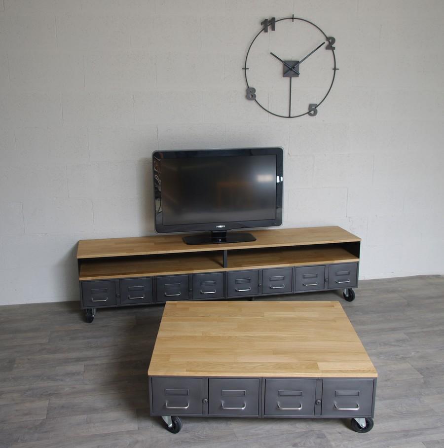 table basse industrielle avec anciens tiroirs d administration ref nashville