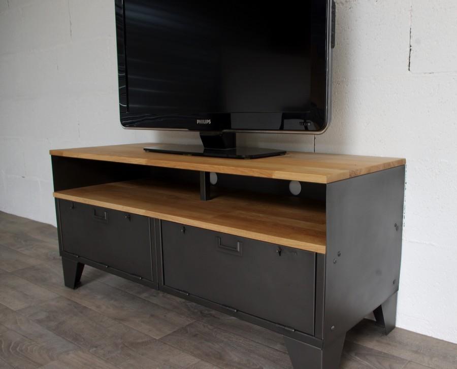 meuble tv style industriel a clapets et niche ref kansas