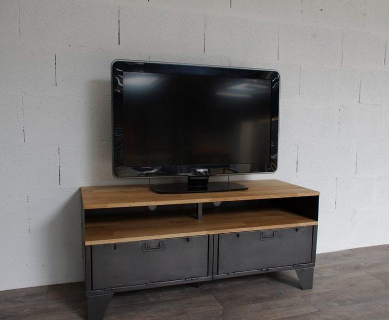 Meuble Tv Mtal Et Bois 120cm Industriel Restaur